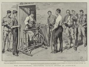 War Preparations, Sharpening Cavalry Swords at Aldershot by Frank Dadd