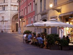 Cafe and Baptistry, Parma, Emilia Romagna, Italy, Europe by Frank Fell