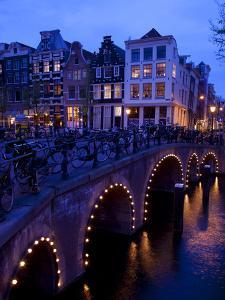 Canal and Bridge, Amsterdam, Holland, Europe by Frank Fell