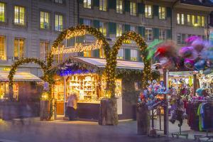 Christmas Market on Waisenhausplatz, Bern, Jungfrau region, Bernese Oberland, Swiss Alps, Switzerla by Frank Fell