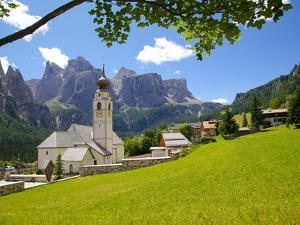 Church, Colfosco, Badia Valley, Bolzano Province, Trentino-Alto Adige, Italy, Europe by Frank Fell