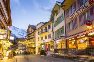 Dorfstrasse in Wengen, Jungfrau region, Bernese Oberland, Swiss Alps, Switzerland, Europe by Frank Fell