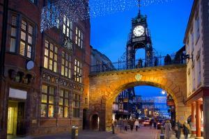 East Gate Clock at Christmas, Chester, Cheshire, England, United Kingdom, Europe by Frank Fell
