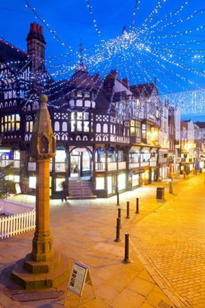 East Gate Street at Christmas, Chester, Cheshire, England, United Kingdom, Europe by Frank Fell