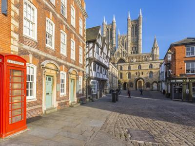 Lincoln Cathedral viewed from Exchequer Gate with red telephone visible, Lincoln, Lincolnshire, Eng by Frank Fell