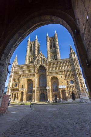 Lincoln Cathedral viewed through archway of Exchequer Gate, Lincoln, Lincolnshire, England, United  by Frank Fell