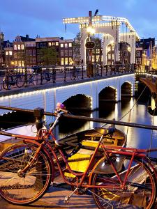 Magere Brug (Skinny Bridge) at Dusk, Amsterdam, Holland, Europe by Frank Fell