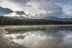 Mist on Lost Lake, Ski Hill and surrounding forest, Whistler, British Columbia, Canada, North Ameri by Frank Fell