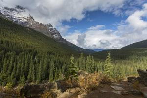 Mountainous landscape at Moraine Lake, Banff National Park, UNESCO World Heritage Site, Canadian Ro by Frank Fell