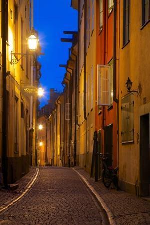Narrow Street at Dusk, Gamla Stan, Stockholm, Sweden, Scandinavia, Europe by Frank Fell