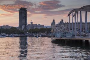 Port Vell at sunset, Barcelona, Catalonia, Spain, Europe by Frank Fell
