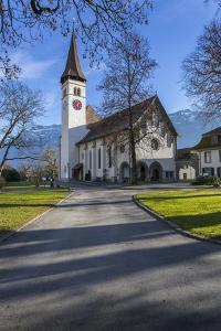 Schlosskirche Interlake, Interlaken, Jungfrau region, Bernese Oberland, Swiss Alps, Switzerland, Eu by Frank Fell