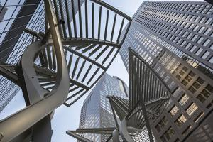 Sculpture and urban office buildings on Stephen Avenue Walk, Downtown, Calgary, Alberta, Canada, No by Frank Fell