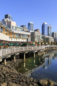 Seattle skyline and restaurants on sunny day in Bell Harbor Marina, Seattle, Washington State, Unit by Frank Fell