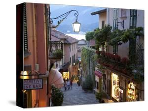 Shopping Street at Dusk, Bellagio, Lake Como, Lombardy, Italy, Europe by Frank Fell