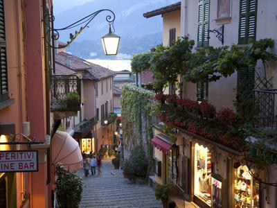 Shopping Street at Dusk, Bellagio, Lake Como, Lombardy, Italy, Europe