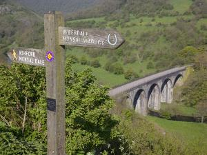 Signpost and Monsal Dale Viaduct from Monsal Head, Derbyshire, England, United Kingdom, Europe by Frank Fell