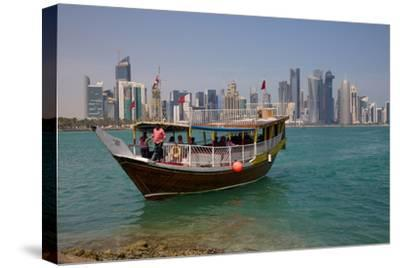 Small Boat and City Centre Skyline, Doha, Qatar, Middle East