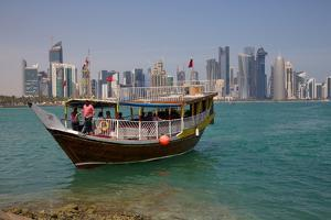 Small Boat and City Centre Skyline, Doha, Qatar, Middle East by Frank Fell