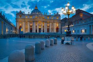 St. Peters and Piazza San Pietro at Dusk, Vatican City, UNESCO World Heritage Site, Rome, Lazio by Frank Fell