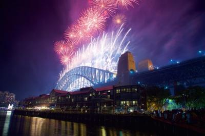 Sydney Harbour Bridge and New Years Eve Fireworks, Sydney, New South Wales, Australia, Oceania by Frank Fell