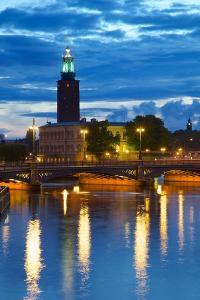 The City Hall at Night, Kungsholmen, Stockholm, Sweden, Scandinavia, Europe by Frank Fell