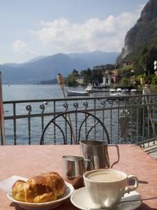 Town and Lakeside Cafe, Menaggio, Lake Como, Lombardy, Italian Lakes, Italy, Europe by Frank Fell