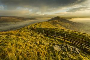 View from Mam Tor of fog in Hope Valley at sunrise, Castleton, Peak District National Park, Derbysh by Frank Fell