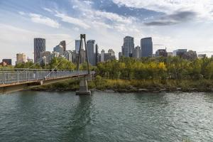 View of Bow River and Downtown from Sunnyside Bank Park, Calgary, Alberta, Canada, North America by Frank Fell