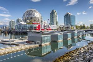 View of False Creek and Vancouver skyline, including World of Science Dome, Vancouver, British Colu by Frank Fell
