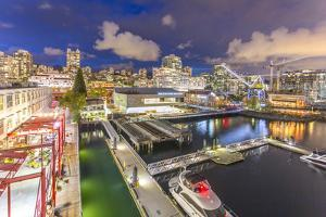 View of Lonsdale Quay in North Vancouver at dusk, Vancouver, British Columbia, Canada, North Americ by Frank Fell