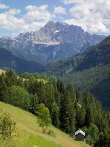 View of Mountains, La Plie Pieve, Belluno Province, Dolomites, Italy, Europe by Frank Fell
