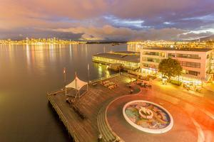 View of Vancouver Downtown from Lonsdale Quay North Vancouver at dusk, Vancouver, British Columbia, by Frank Fell