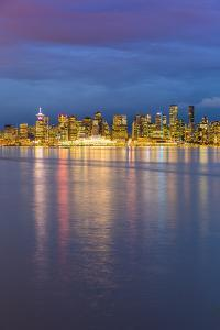 View of Vancouver Downtown from North Vancouver at dusk, Vancouver, British Columbia, Canada, North by Frank Fell