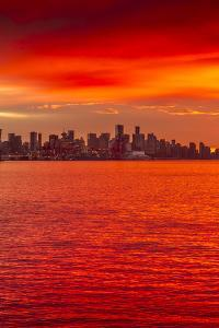 View of Vancouver Skyline from North Vancouver at sunset, British Columbia, Canada, North America by Frank Fell