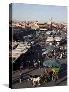 View over Market, Place Jemaa el Fna, Marrakesh, Morocco, North Africa, Africa by Frank Fell