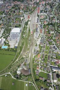 Railway Station of Garmisch-Partenkirchen, Olympic Skating Hall, Aerial Picture, Germany, Bavaria by Frank Fleischmann