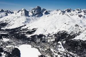 St. Moritz with Skiing Area Corviglia and St. Moritzersee, Aerial Picture, Switzerland by Frank Fleischmann