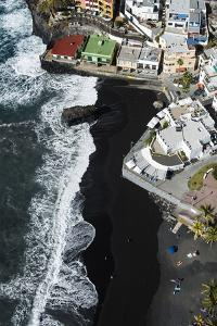 Volcano Beach and Seafront in Puerto Naos on La Palma, Aerial Picture, Canary Islands, Spain by Frank Fleischmann