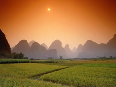 Rice fields an chalk mountains at twilight, Yangshou, Guangxi Province, China by Frank Krahmer