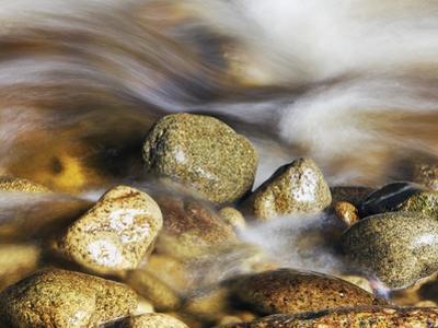 Water rushing past river stones