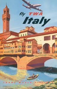 Fly TWA Italy, Florence, 1950s by Frank Lacano