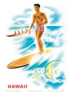 Matson Lines to Hawaii, Surfer and Outrigger, c.1940s by Frank MacIntosh
