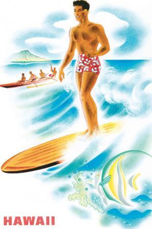 Matson Lines to Hawaii, Surfer and Outrigger, c.1940s