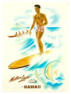 Matson Lines in Hawaii, Surfer by Frank Mcintosh