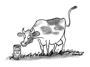 "A cow in a meadow looks at a can with that has a label on it that reads ""M?"" - New Yorker Cartoon by Frank Modell"
