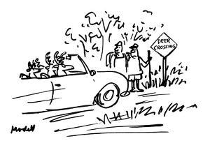 Deer are driving car while two human hikers look from side of road with 'D? - New Yorker Cartoon by Frank Modell