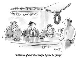 """Goodness, if that clock's right I gotta be going!"" - New Yorker Cartoon by Frank Modell"