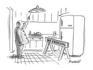 "Man turns on light in kitchen to find his refrigerator blocked by a ""No Cr? - New Yorker Cartoon by Frank Modell"