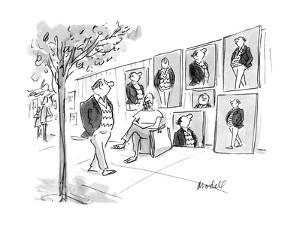 Man walks by street artist who has painted several pictures of him. - New Yorker Cartoon by Frank Modell